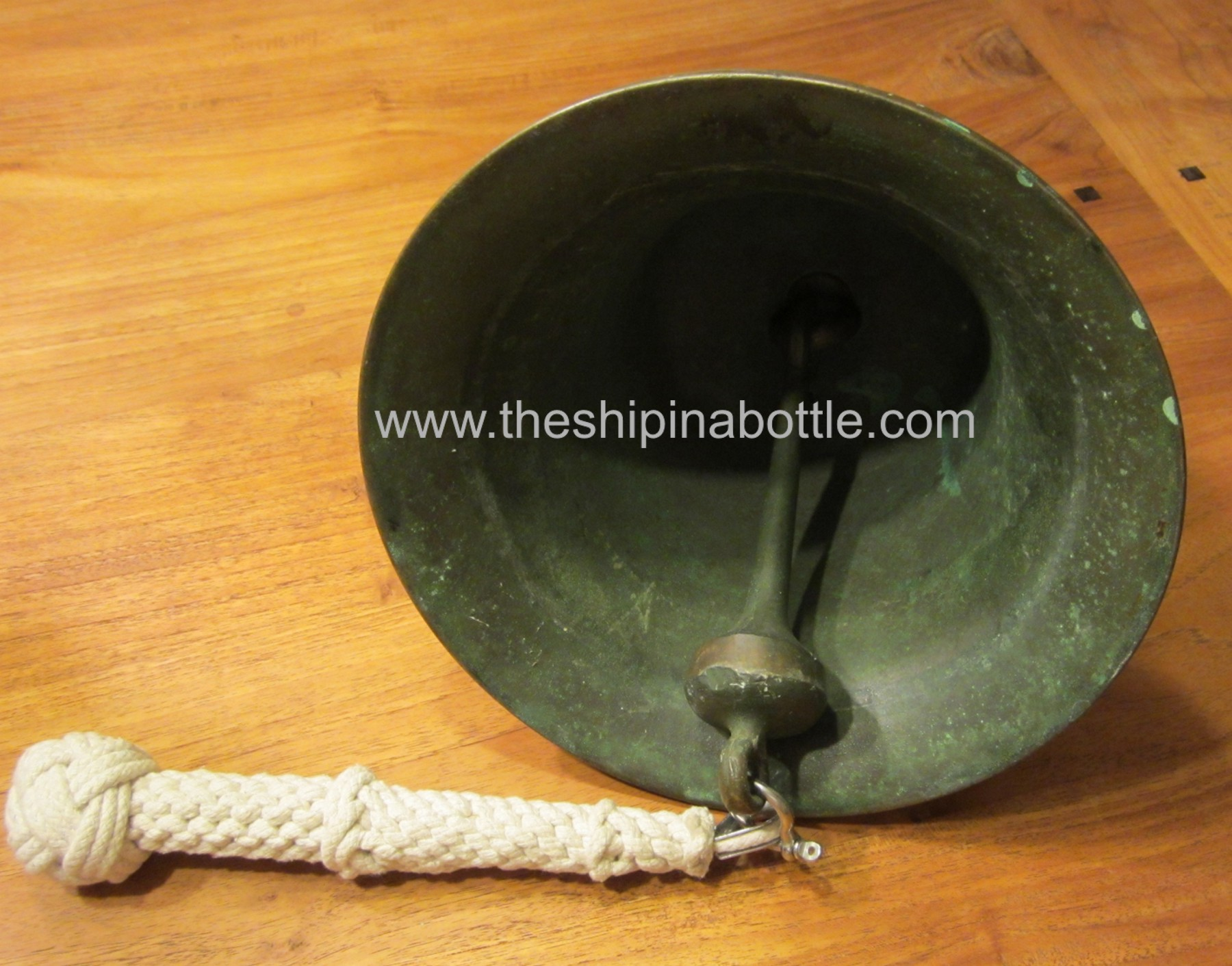 Bell Clapper and Bell Rope on authentic US Navy WW-I Era Bell