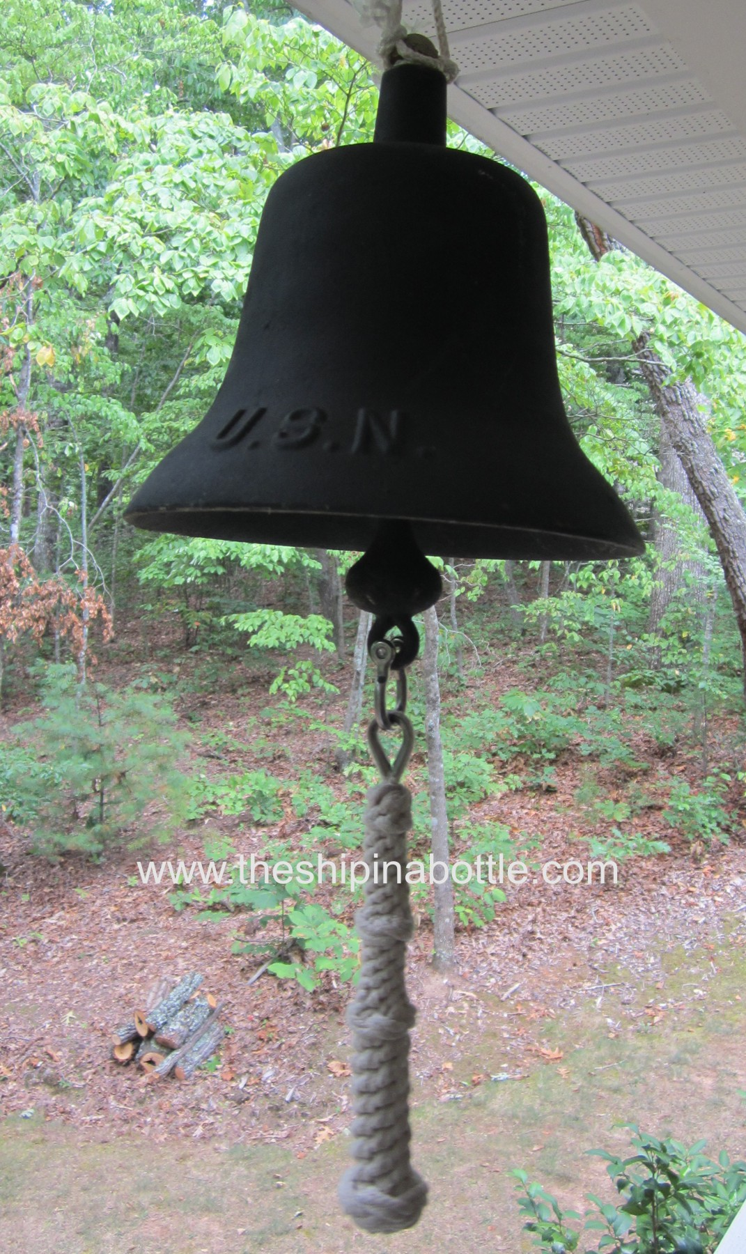 Authentic Cast Iron US Navy Bell with custom bell rope
